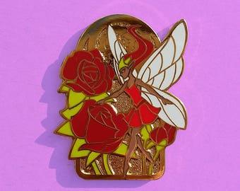 Flower Fairy Pin / Rose Pin / Flower Pin / Hard Enamel Pin / Art Nouveau Pin / Flower Gift / Darker Skin