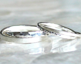 Double Rolling Ring Wedding Set in Sterling Silver - Wedding Bands or Promise Rings - Eco Friendly Recycled Silver