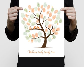 fingerprint tree baby shower guest book art - printed poster - birds nest family, personalised baby gift, nursery keepsake artwork