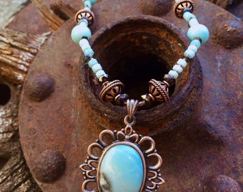 COPPER QUEEN Necklace (Amazonite, Smoky Quartz, Copper, Czech Crystal)