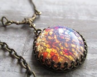 Vintage Glass Opal Necklace, Large Opal Pendant, Harlequin Pink Opal Necklace, Vintage Style Necklaces, Opal Jewelry, Opal Necklaces