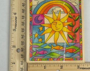 Wooden Mounted 4x3 Rainbow Sun Rubber Stamp For Cardmaking or Stationary  L26044