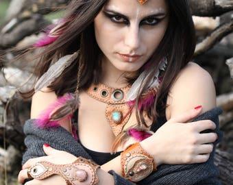 Natural Crystal Leather Cuff - Tribal Leather Ring Cuff Bracelet- Slave Burning Man Cuff - Boho Hippie Cuff Bracelet- Leather Cuff