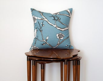 Graphic Branch + Floral Print Pillow Cover, in Turquoise, Black + White