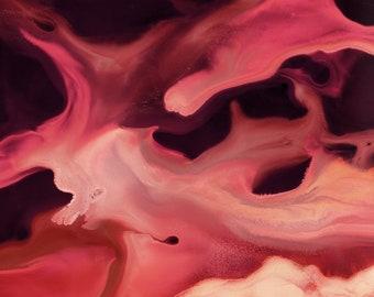 "Abstract Watercolor Giclée Fine Art Print - Red Watercolor - Original Design - Fine Art - Home Decor - Sangria ""A"" - 8x10 - 11x14"