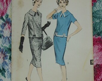 Vintage Pattern c.1950's Advance No.8795 2 Piece Dress, Size12