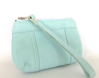 Brooke Coin Purse: Pale Blue Bovine Leather