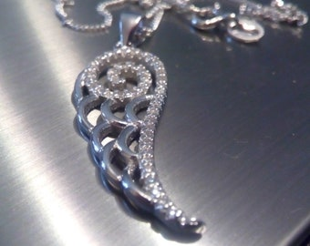 angel pendant necklace,sterling silver,angel wing pendant,Cambodian zircons, gift boxed.