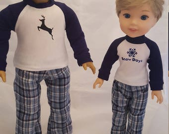 Pajama's for 18 inch and 14 Dolls like American Girl and Wellie Wishers