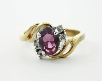 Vintage Amethyst Oval CZ Accent Ring - VPE220
