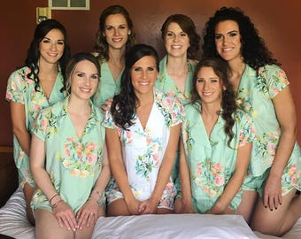 Soft Mint - Notched Collar Style Pj Sets in Angel Song Pattern - Bridesmaids Pjs