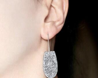 Statement jewelry Druzy silver jewelry Sparkle earring Dangle and drop earrings Druzy earrings Faux druzy gifts Sparkling dangle for women