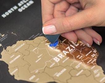 Wanderlust Gift - Scratch Off World Map -  Printed on Flexible Plastic  - FREE SHIPPING