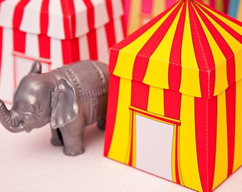 Circus Tent Favor Box : Print at Home Full-Color Template | Carnival Marquee Tent | Cabana | DIY Printable | Digital File