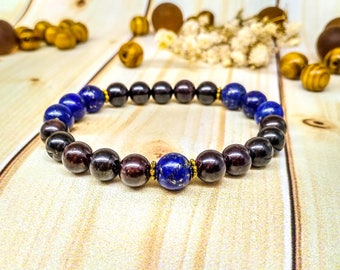Beauty gift Lapis lazuli Garnet bracelet Lapis lazuli jewelry Healing Genuine gemstone Natural Protection amulet Birthday gift