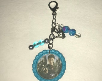 Handmade Bottlecap clip-ons or keychains Blue Turquoise Harry Potter