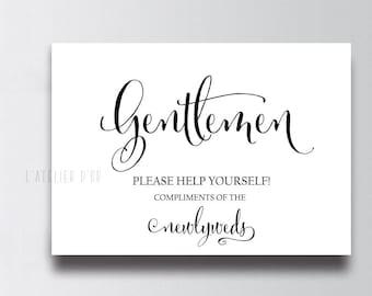 Wedding Bathroom Printable - Mens Bathroom Printable - Restroom Sign - Bathroom Basket Sign - Please Help Yourself Sign - Gentlemen Sign
