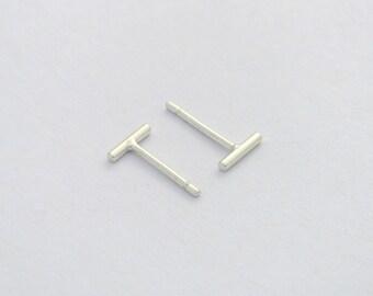 Slim line mini-bar studs, Thin Round Bar Earrings, Eco Friendly Solid Sterling Silver or Solid Gold, Unisex, Geometric Minimalist, minimetal