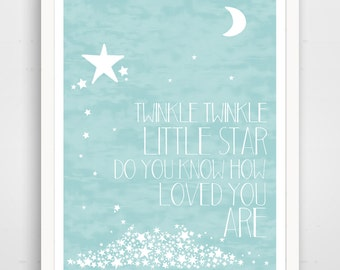 Twinkle Twinkle Little Star Do You Know How Loved You Are - Baby Blue Nursery Wall Art Print - Baby Wall Art