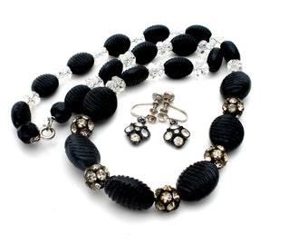 Black Bead Crystal Necklace Earrings Set Rondelle Vintage