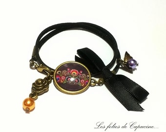 Suedine bracelet • FOLK• Cabochon