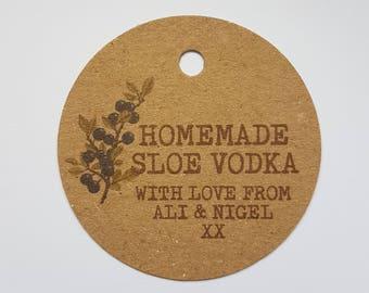 10x Personalised Homemade sloe vodka tags, handmade tags, bottle tags, homemade sloe tags, homemade tag, homemade vodka tags, swing tags