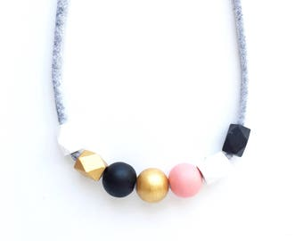 THE SALLY Petite modern girls necklace, kids necklace, womens necklace, handpainted wooden bead necklace in black, white, gold and peach