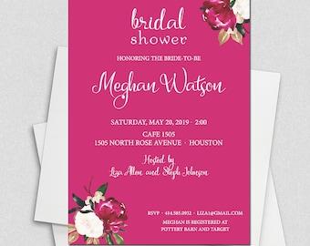 Pink Magnolia Watercolor Bridal Shower Invitation, Floral Bridal shower, Watercolor Bridal Shower, Bridal Brunch Invite, Bridal Luncheon