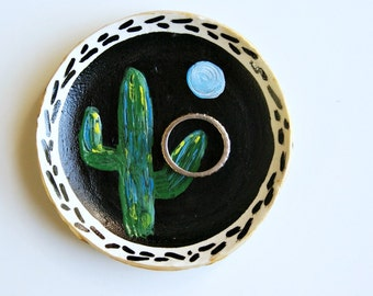 cactus ring dish, catch alls, moon art, clay dish, acrylic painting, sequoai, painted ring dish