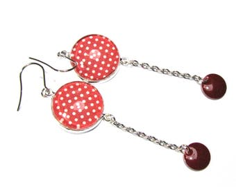 Earrings cabochon, weight red white enamel