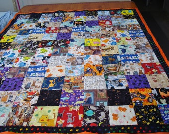 """Cat's 35 different fabric prints cute colorful handmade quilt blanket block patchwork 46"""" x 54"""" 100% cotton lime back Help save a cat kitten"""