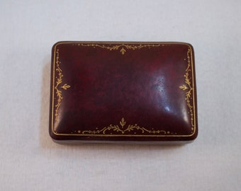 Antique Leather Presentation Box, Leather Jewelry Box, Mens Trinket Jewelry box