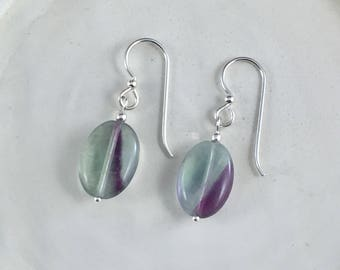 Fluorite Earrings with Sterling Silver Beads and Finishings