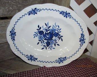 "Vintage Dresden Blue English Ironstone Underglazed J & G Meakin Platter England 12"""