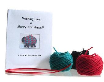 Knit Kit, Sheep Holiday Ornament Knitting Kit Christmas Sheep Lamb Hanging Tree Decoration Includes Pattern Red Green Wool Yarn