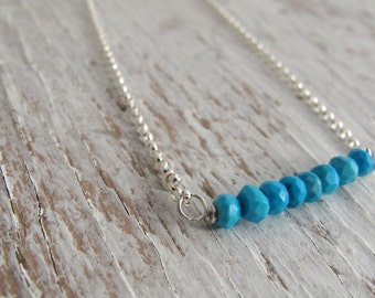 December Birthstone Necklace, Blue Turquoise Bar Necklace, Birthday Gift, Sterling Silver, Christmas Gift
