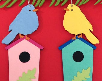 Bird on birdhouse Christmas tree ornament