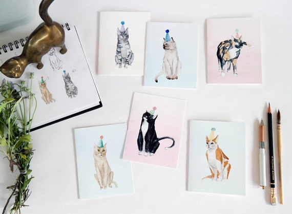 Party Cats Set of 6 Folded Cards