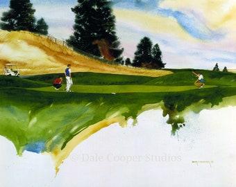 Golf Art, impression de Golf, Golf aquarelle, Golf Wall Decor, impression de Sports,