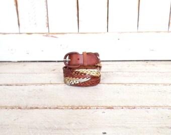 Woven brown/metallic gold leather vintage boho/hippie belt/Huarache braided belt/medium/large