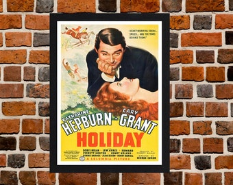 Framed Holiday Cary Grant & Katharine Hepburn Romantic Movie / Film Poster A3 Size Mounted In Black Or White Frame