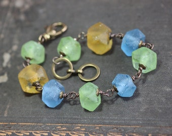 Recycled African Glass Bead Bracelet Yellow Blue and Green Brass Wire Wrapped Bracelet