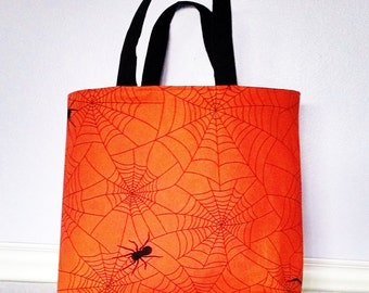 30% OFF SALE Halloween Cotton Tote Bag, Spider Trick or Treat Bag, Spider Web Handmade Tote, Bags and Purses, Lined Tote Bag, Gift Bag