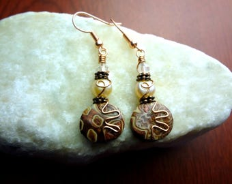 Brown and Peach Copper Wire Wrapped Polymer Clay Earrings