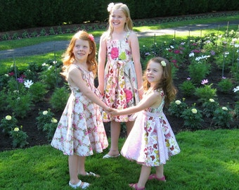 Girls Sun Dress Sewing Pattern PDF Full Circle Skirt Twirl