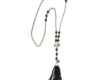 Turiya - a carved black onyx and black and silver seeded tassel necklace for the spiritually Boheme