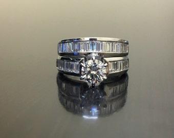 Platinum Diamond Engagement Ring - Art Deco Platinum Diamond Wedding Ring - Art Deco Diamond Platinum Ring - Platinum Baguette Diamond Ring