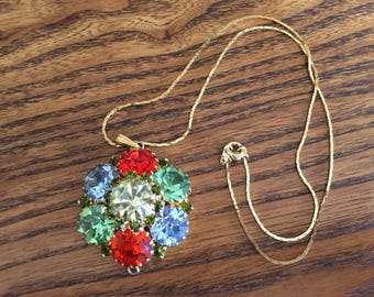 Vintage Yellow, Green, Blue and Red Rhinestone Domed/Flower Pendant Necklace 1183