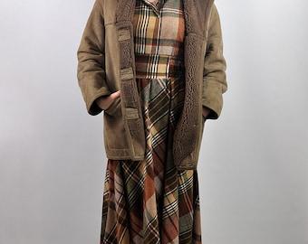 Vintage Light Brown Sheepskin Shearling Coat