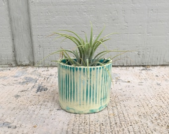 Handmade Teal Striped Mini Magnetic Planter - Air Plant Included